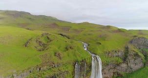 多数著名冰岛瀑布塞里雅兰瀑布 股票视频
