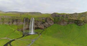 多数著名冰岛瀑布塞里雅兰瀑布 影视素材