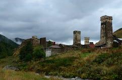 多数高空解决在欧洲Ushguli, Svanetia,乔治亚 免版税库存照片