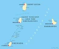 巴巴多斯、格林纳达、圣卢西亚和圣文森政治地图 库存例证