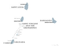 巴巴多斯,格林纳达,圣卢西亚,圣文森政治地图 库存例证