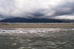 多暴风雨的天气,海滩,海,地平线,山,可西嘉岛,欧特Corse,法国,欧洲,海岛 免版税图库摄影
