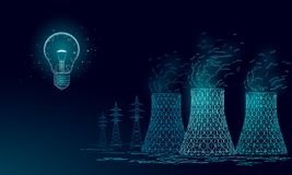 多核发电站的冷却塔低 3d回报生态污染保存行星环境概念三角 库存例证