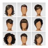 多民族男女面孔具体化外形 免版税库存照片