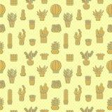 多汁植物和仙人掌黄色传染媒介无缝的样式 Minimalistic设计 库存图片