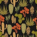 多汁植物植物传染媒介无缝的样式 植物的黑和绿色仙人掌植物群织品印刷品 向量例证