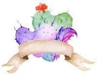 多汁花束 Ð以心脏、羽毛和横幅的形式¡ actus 图库摄影
