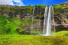 多瀑布Seljalandsfoss 库存照片