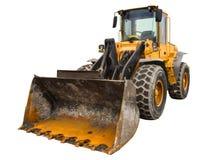 多灰尘的大推土机装载者,隔绝在纯净的白色背景 免版税库存图片