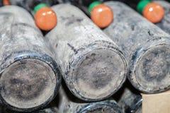 多灰尘的瓶时间在地下葡萄酒库里 免版税库存照片
