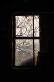 多灰尘的窗架 免版税库存图片