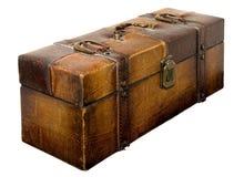多灰尘的老手提箱 库存图片