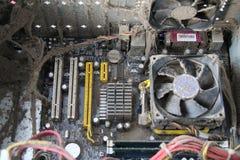 多灰尘的计算机主板 免版税库存照片
