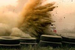 多灰尘的赛跑的集会 库存图片