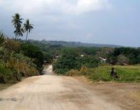 多灰尘的路在塔纳岛海岛 库存照片