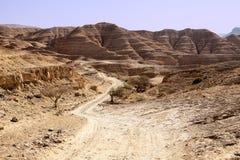 多灰尘的路在Neqev沙漠 免版税库存图片