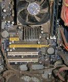 多灰尘的主板 库存照片