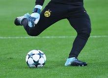 多特蒙德足球俱乐部守门员训练 库存图片