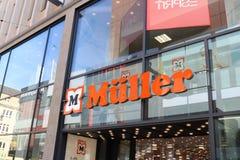 多特蒙德,德国鲁尔区,北部莱茵河西华里亚,德国- 2018年4月16日:MÃ ¼有限公司ller & Co KG,德国人商业公司标志 图库摄影