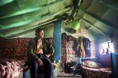 多瑙河三角洲村庄的老居民 免版税库存照片