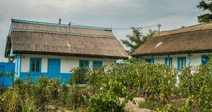 多瑙河三角洲的传统房子, Letea,罗马尼亚 免版税图库摄影