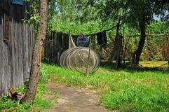 多瑙河三角洲的渔夫,罗马尼亚 库存图片