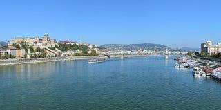 多瑙河全景在布达佩斯,匈牙利 免版税库存照片