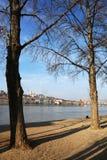 多瑙河和从Lipotvaros看见的布达佩斯右岸的部分 库存图片