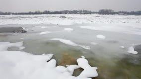 冻多瑙河在冷的冬天 股票视频