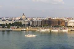 多瑙河堤防看法在布达佩斯,匈牙利 免版税库存照片