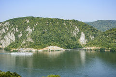 多瑙河峡谷, Decebal雕象,罗马尼亚- Cazanele Dunarii 库存图片