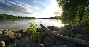 多瑙河日落 库存照片