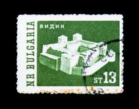 多瑙河的维丁,维丁,奥斯曼帝国城堡Sanjak,使serie环境美化,大约1962年 免版税库存图片