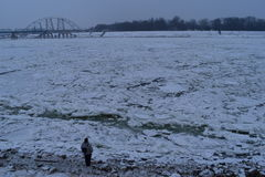 多瑙河冻结的河 免版税库存图片