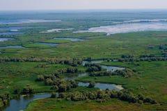多瑙河Delta鸟瞰图  免版税图库摄影