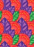 水多的切片与绿色和紫色蓬蒿传染媒介例证叶子的蕃茄  免版税库存图片