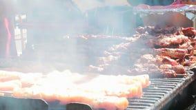 水多的烤鸡串,由白肉和烟肉制成,被转动在bbq 股票视频