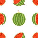水多的整个西瓜和切片的样式在平的样式 免版税库存图片