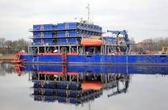 多目的适应支援船只 北海,威廉港,德国 免版税图库摄影