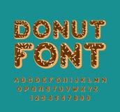 多福饼字体 饼字母表 烘烤在油信件 巧克力结冰 皇族释放例证