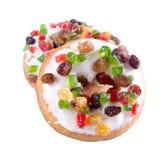 多福饼,在背景的五颜六色的油炸圈饼 库存图片
