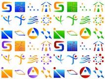 多种抽象设计要素图标徽标 免版税库存照片