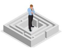 多种方式 解决问题 发现迷宫的解答的商人 到达天空的企业概念金黄回归键所有权 平展等量的传染媒介3d 免版税库存图片