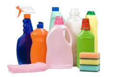 多种清洁物品 免版税库存照片