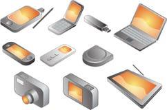 多种电子小配件 免版税库存照片