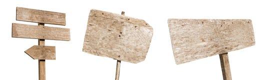 多种空的木符号的收集在空白背景的 每一个分别地被射击 免版税库存图片