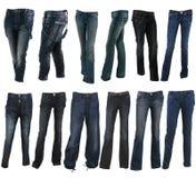多种蓝色收集牛仔裤长裤类型 图库摄影