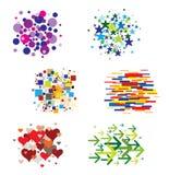 多种颜色模式被设置的形状 库存图片
