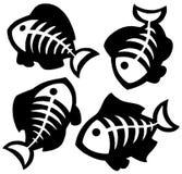 多种鱼骨剪影 免版税库存照片