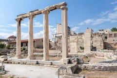 Hadrian图书馆雅典希腊 免版税库存照片